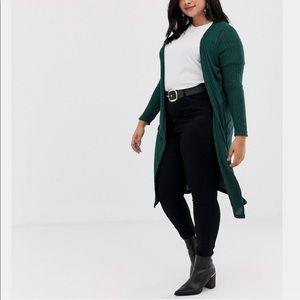 ASOS New Look dark green long cardigan